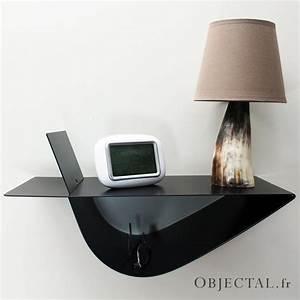 Table Chevet Design : table de chevet suspendue design noire table de nuit chevet mural ~ Teatrodelosmanantiales.com Idées de Décoration