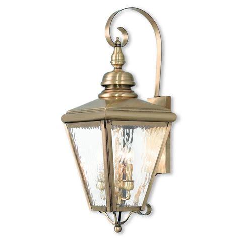 livex lighting cambridge 3 light antique brass outdoor