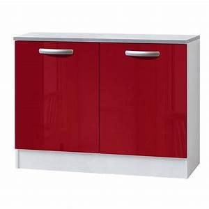 Meuble Cuisine Leroy Merlin : meuble de cuisine bas 2 portes rouge brillant h86x l120x ~ Melissatoandfro.com Idées de Décoration