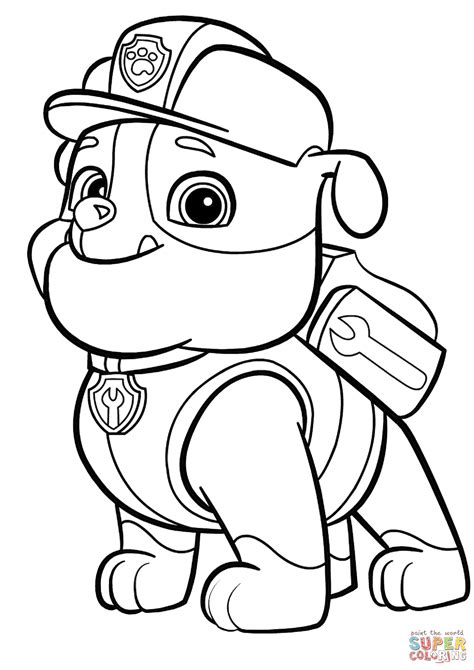 paw patrol rubble coloring page  printable coloring