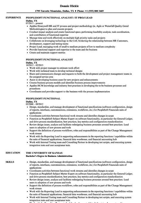Resume Peoplesoft by Peoplesoft Functional Resume Sles Velvet