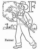Coloring Farmer Farm Taking Care Village Sky sketch template