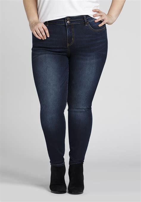 Women's Plus Size Dark Wash Skinny Jeans | Warehouse One