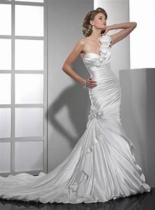 beautiful satin mermaid wedding dresses sang maestro With one shoulder mermaid wedding dress