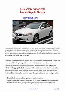 Acura Tsx 2004-2008 Repair Manual By Fu Juan