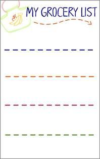 grocery list activity  preschoolers   printable
