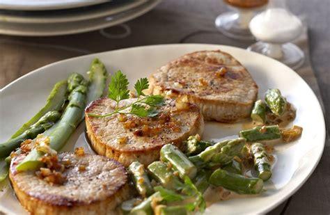 cuisine cote de porc grenadins de veau aux asperges recettes de cuisine la viande fr