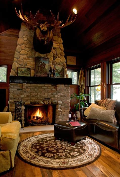 cozy  rustic lodge style living room makeover