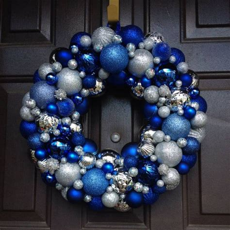 silver and royal blue christmas ornament wreath by artsieani