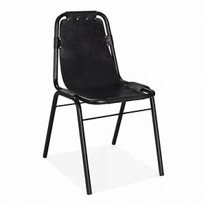 Black Leather Mercury Metal Side Chair