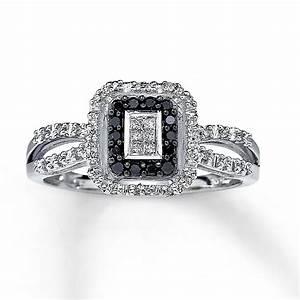Kay - Black Diamond Ring Princess-Cut 10K White Gold