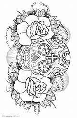 Mandalas Skulls Calavera sketch template