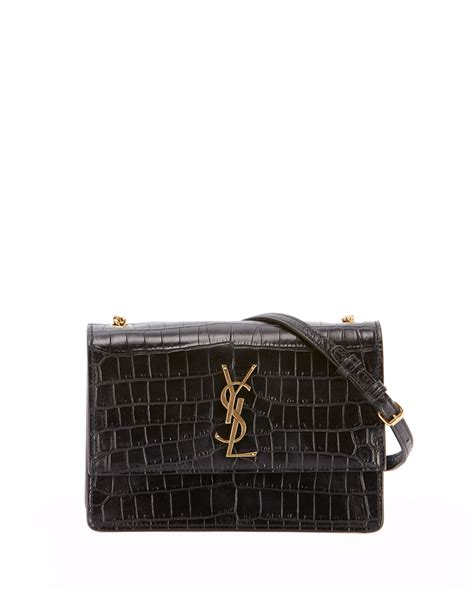 saint laurent monogram ysl sunset small chain croco