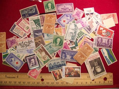 50 Mint Us Postage Stamp Lot, All Different ,1930s-1970s