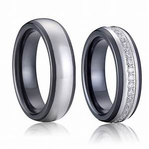 luxury custom tailor handmade titanium inlay black ceramic With ceramic wedding ring sets