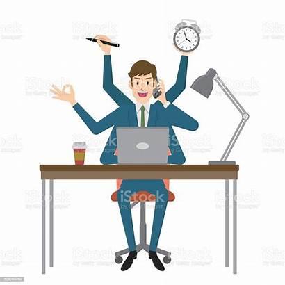 Multitasking Businessman Multi Vector Tasking Clipart Illustrations