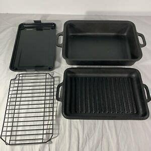 rare emeril lagasse black cast iron    smoker roaster stove top grill euc ebay