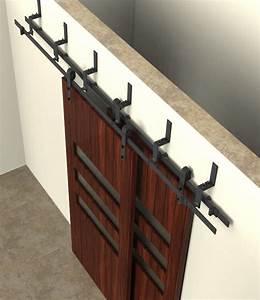 5 6 66 8ft bypass sliding barn wood closet door rustic With 4 foot sliding barn door hardware