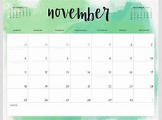 Free November 2018 Blank Calendar Printable Download