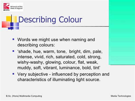 how to describe colors colours