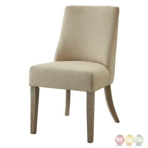 antonelli beige linen chair with nailhead trim set of 2
