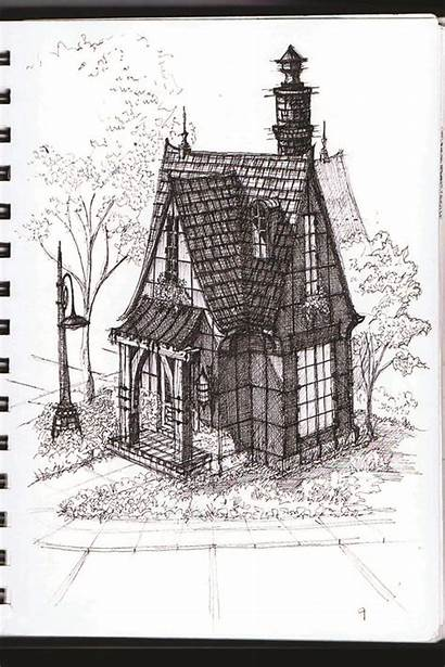 Gothic Cottage Tiny Plans Cabin Drawing Floor