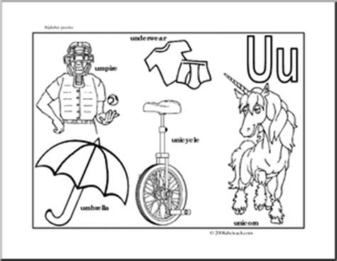 things that start with the letter u for preschoolers letter puzzle letter u guide b w abcteach 702