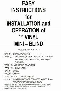Vinyl Mini Blind Installation Instructions