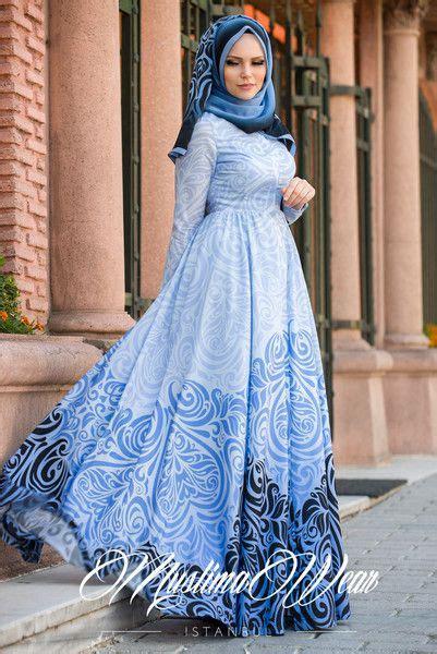 muslima wear blue pearl casual dress muslima wear design