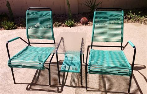 mid century vinyl cord patio set vintage metal porch