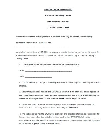 rental lease agreement forms   word