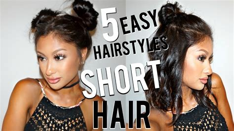 5 EASY Hairstyles for SHORT Hair YouTube
