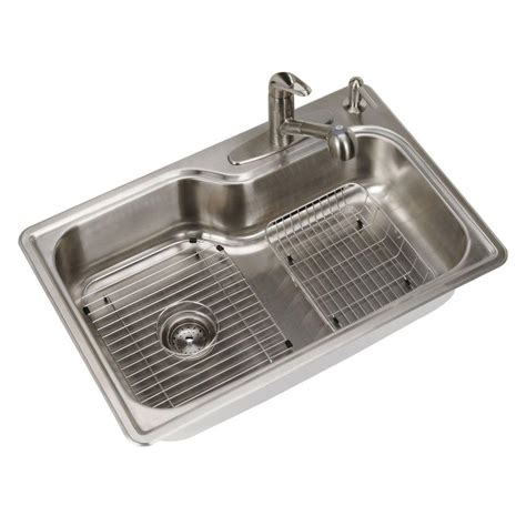 one bowl kitchen sink glacier bay all in one top mount stainless steel 33 in 4