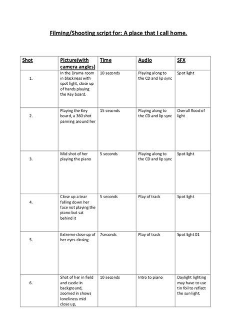 media shooting script template