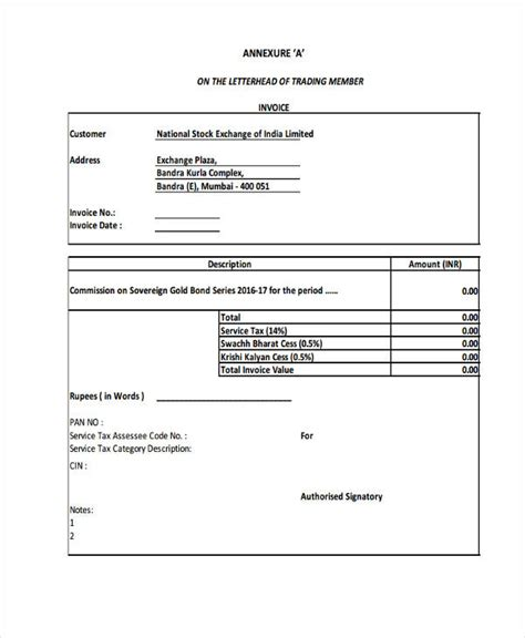 tax invoice examples samples  google docs