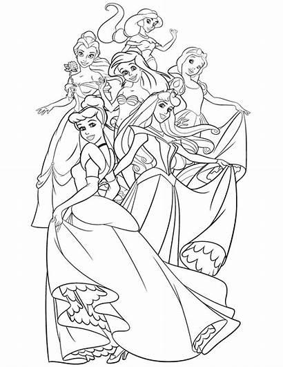 Princess Coloring Pages Princesses Disney Blank Crown
