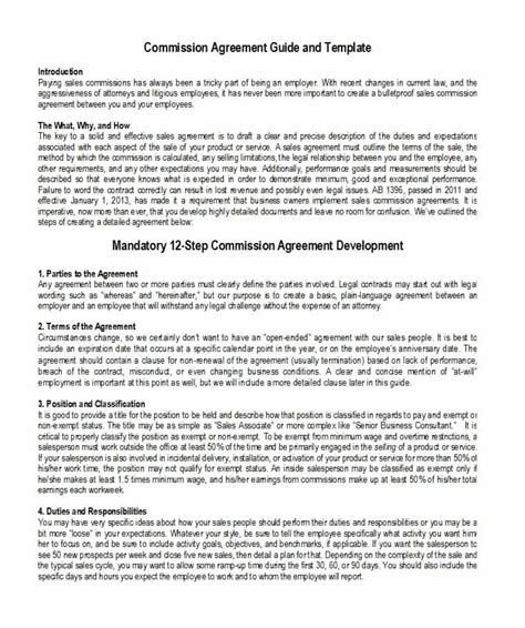 Contract Agreement Sales Astance A Vendor Template by 98 Commission Agreement Sle California Commission
