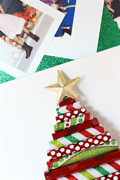 wrapping paper christmas tree canvas with photo ornaments young at heart mommy