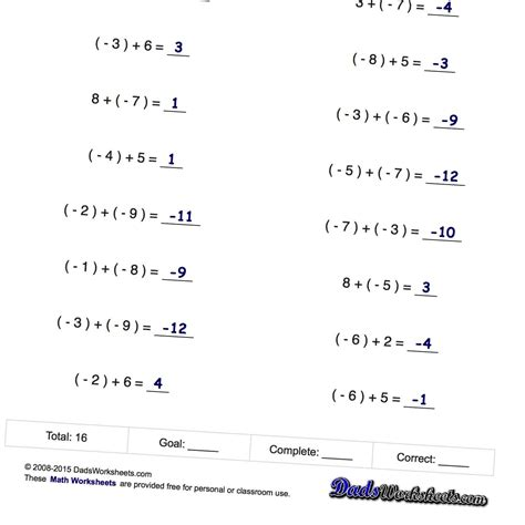 negative numbers addition and subtraction math