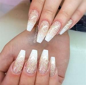 White and gold coffin nails LOVE!   u014bu0105u0131u0196u0282   Pinterest   Coffin nails Gold and Nail nail