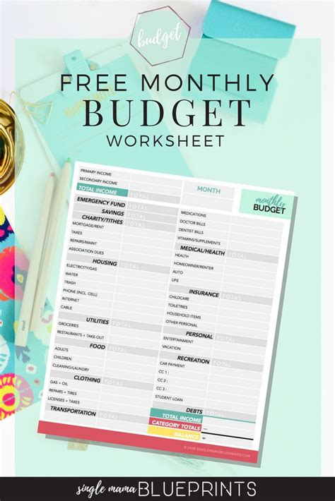 monthly budget worksheet simple save money