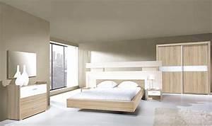 Chambre Complete Adulte : chambre adulte compl te 160x200 blanc et ch ne miya ~ Carolinahurricanesstore.com Idées de Décoration