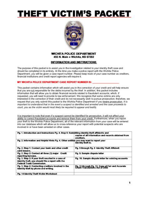 identity theft affidavit form wichita police department
