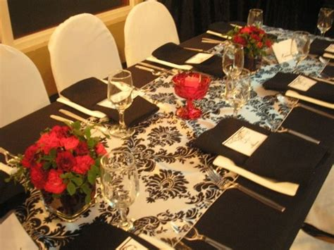 Black Burgundy White Centerpieces Chairs Indoor Reception