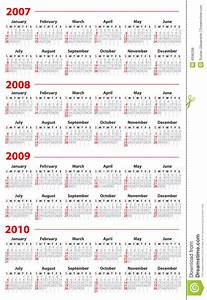 Business Carads Calendar For 2007 2008 2009 And 2010 Royalty Free Stock