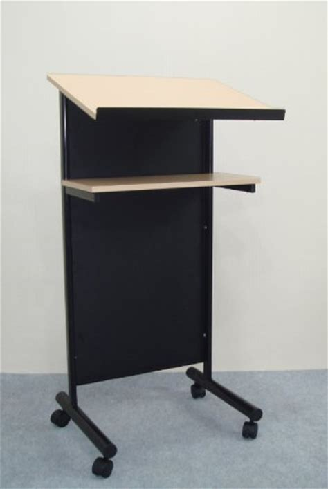 standing desk with storage wheeled lectern with storage shelf beech black