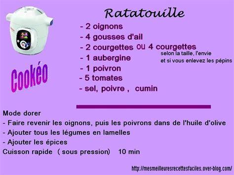 recette de cuisine cookeo recette de la ratatouille au cookéo mes meilleures recettes faciles