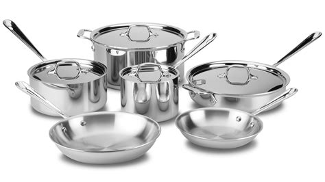 clad cookware set tri ply stainless steel  piece cutlery