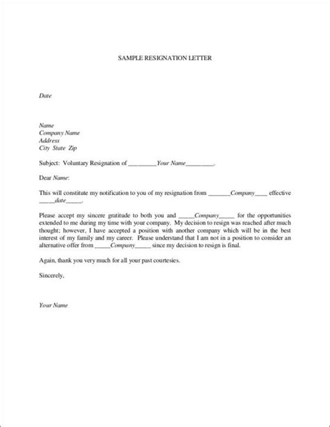 printable resignation letter samples templates