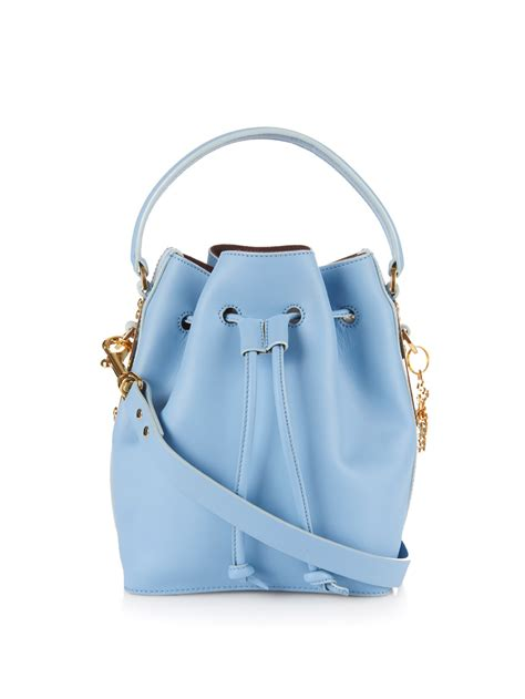 lyst sophie hulme fleetwood small leather bucket bag  blue